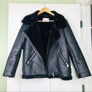Zara Faux Leather Fur Shearling Biker Jacket M